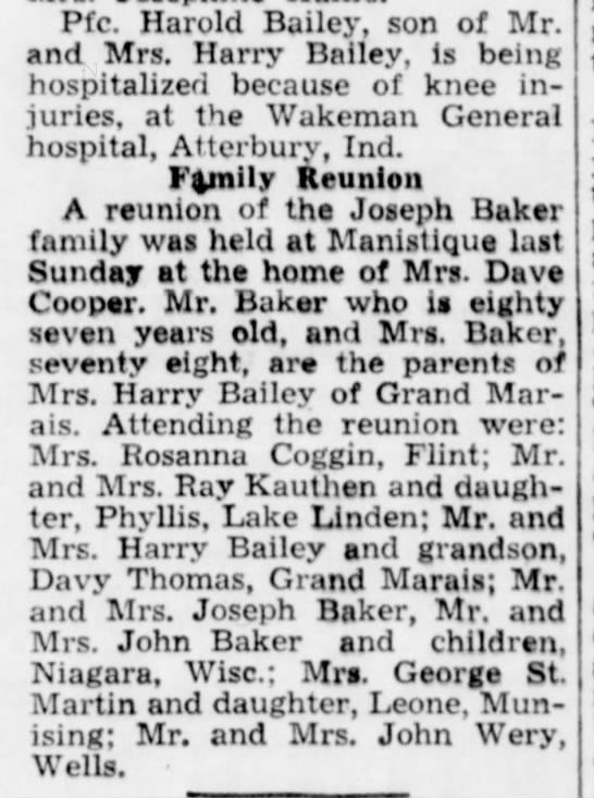 Baker Reunion  Manistique 10-25-1944