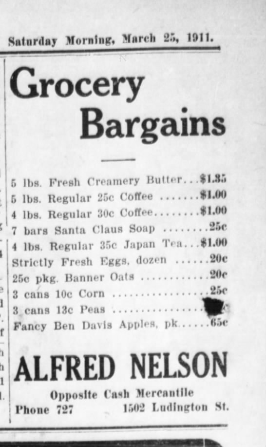 Grocery - Saturday Morning, March 2.», 1911. Grocery...