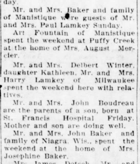More Baker Visits 8 May 1936 - Sunday. Mr. and Mr«. ilak**r and family of...