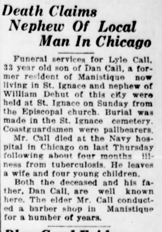 - Death Claims Nephew Of Local Man In Chicago...