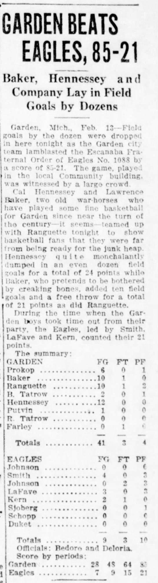 Lawrence Baker- Garden Basketball - GARDEN BEATS EAGLES,85-21 Baker, Hennessey and...