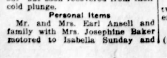 Ansell's And Josephine Baker Motor to Isabella - cold plunge. Personal Item» Mr. and Mrs Karl...