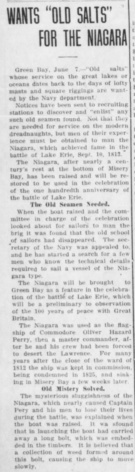"""Battle of Lake Erie - Brig Niagara - WANTS """"OLD SALTS"""" FOR THE Green Hay, June..."""