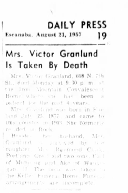 Grama Granlund Obit - DAILY PRESS hrimhi, 4ucu*t 21, 195 ' 19 Mrs....