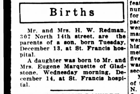 Bill 12/13/38 - Births Mr. and Mrs. H. W. Redman, 3 07 North...