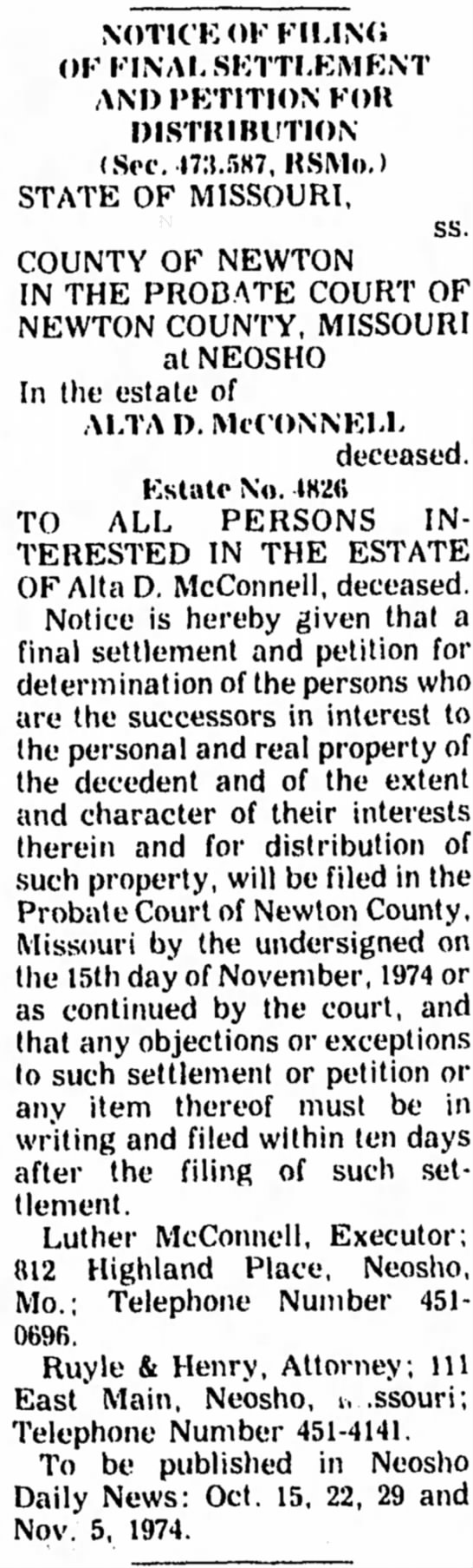 may be a repeat - NOTICE OF FILING OF FINAL SETTLEMENT AND...