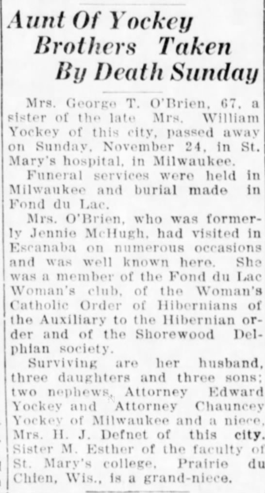 Jennie McHugh O'Brien 3 Dec 1935 pg 17 - Aunt Of Yockey Brothers Taken By Death Sunday...