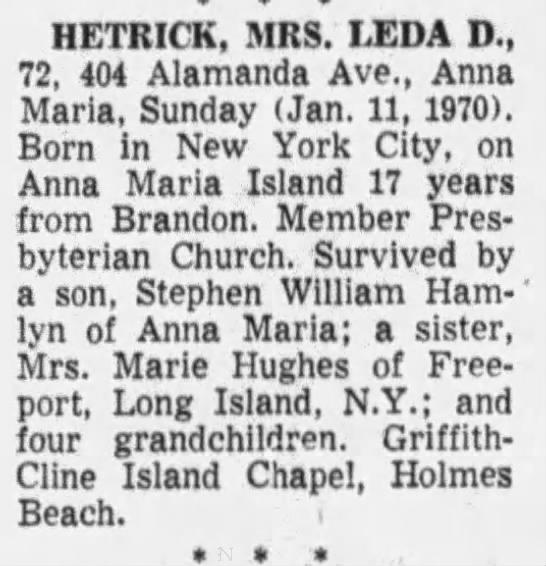 Mrs. Leda D. (Marr) Hetrick death notice - HETRICK, MRS. LEDA D., 72, 404 Alamanda Ave.,...