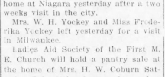 Ella & Fredericka Yockey 21 Jul 1912 Sun pg 6 - home at Niagara yesterday after a two weeks...