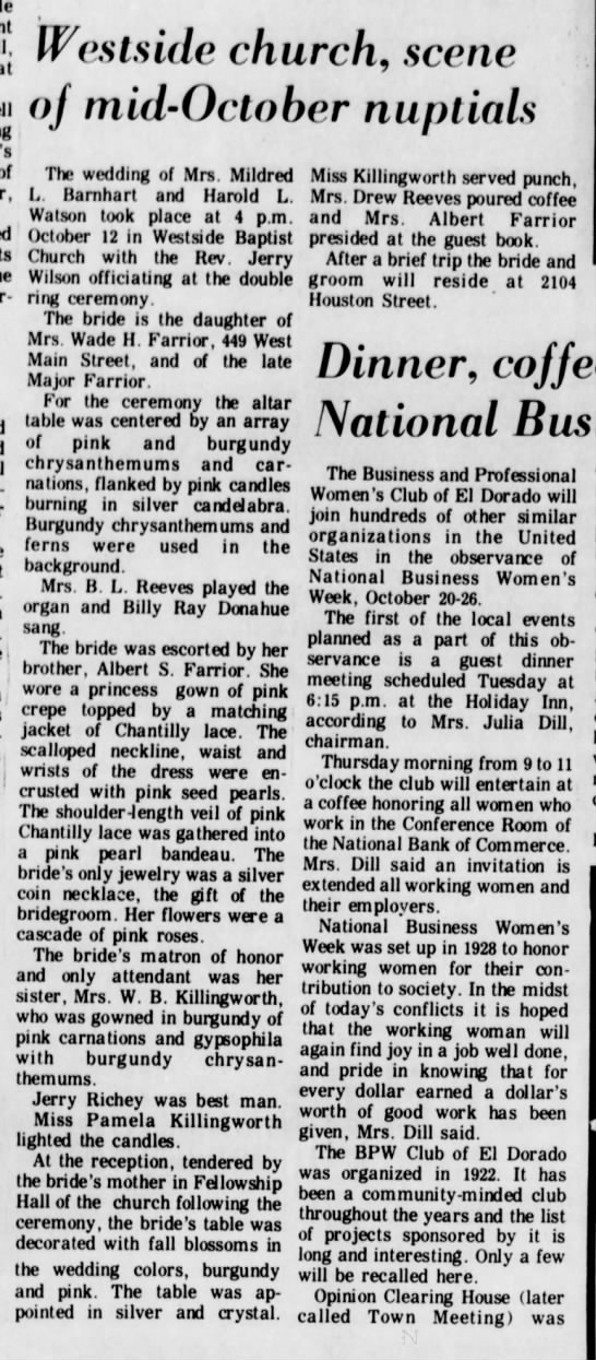 Barnhart Watson wedding - 20 Oct 1974 - El Dorado Times, Arkansas
