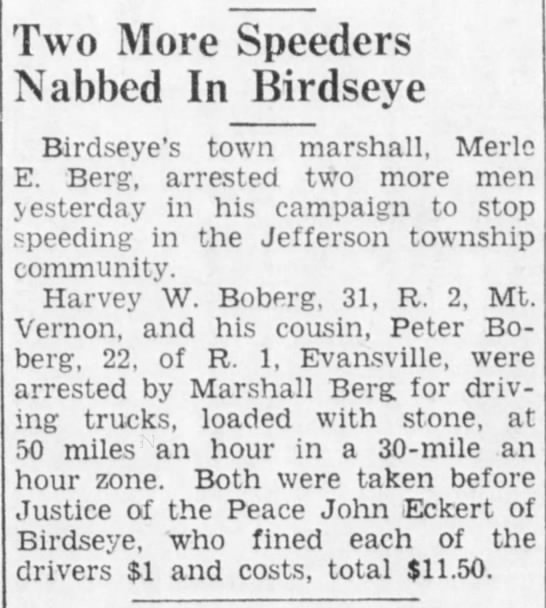 Eckert_John_13apr1949 - Two More Speeders Nabbed In Birdseve Birdseye's...