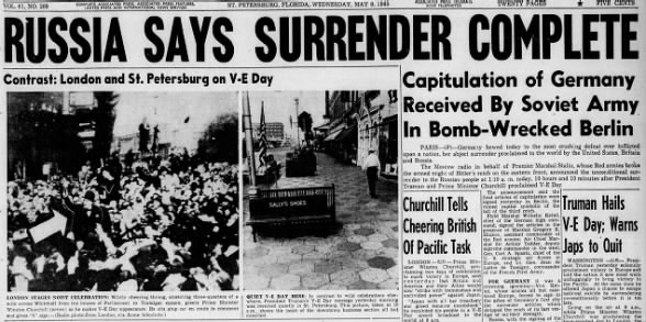 Russia says surrender complete, May 9 1945