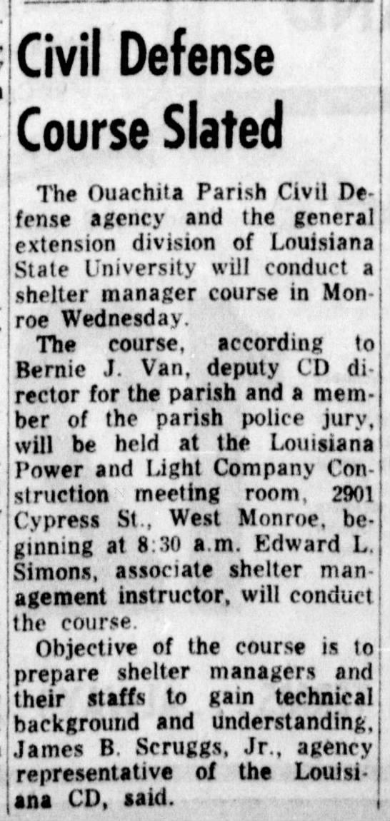 1966 Ouachita Civil Defense Shelter Training. -TMalmay - t ^ . St..j^j^/!  hAfAHeA VilVII Wvivil5w...