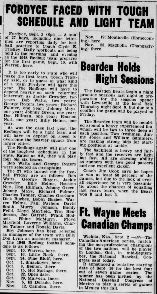 Fordyce Football Roster 1948