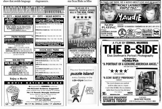 Death of movie listings - show that avoids language msVTCTIWiTF - CITY -...