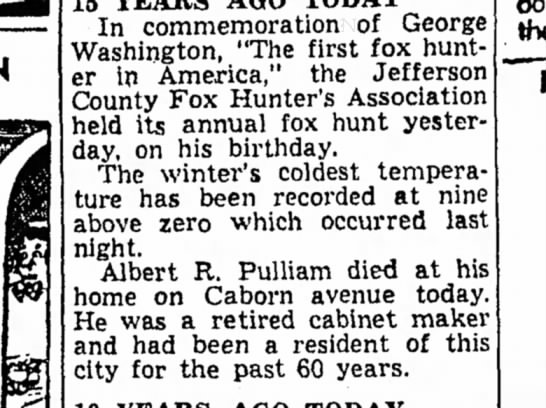 "Albert R. Pulliam - Mt. Vernon Register-News (Mt Vernon, IL), 23 Feb 1954, pg 9 - In commemoration of George Washington, ""The..."
