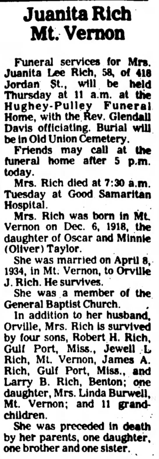 Juanita Lee (Taylor) Rich obit - 16 Mar 1977 - JuanitaRich ML Vernon Funeral services for Mrs....