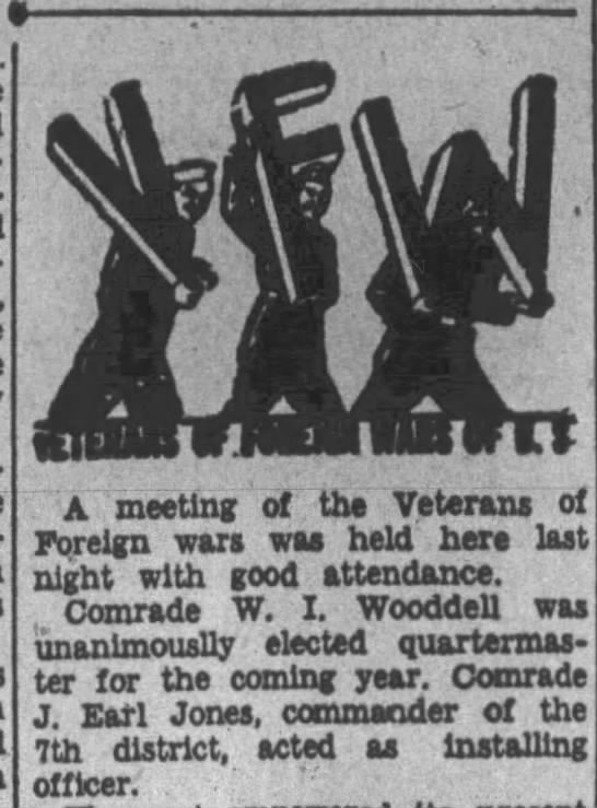 elected quartermaster of local VFW post - A. meeting of the Veterans of Foreign wars was...