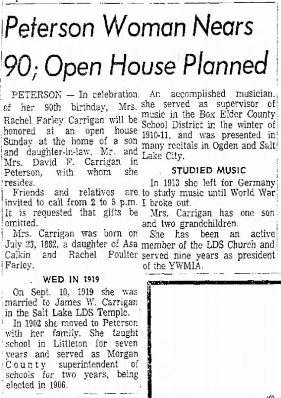 1972 Rachel Farley Carrigan's 90th Birthday Open House - A j I high and Peterson Woman Hears 90; Open...