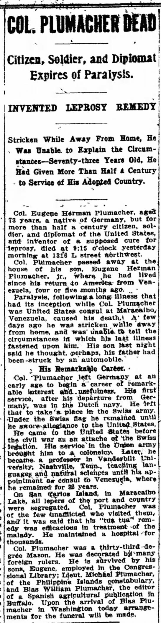plumacherobit3 - COL. PLUMACHER Citizen, Soldier, and Diplomat...