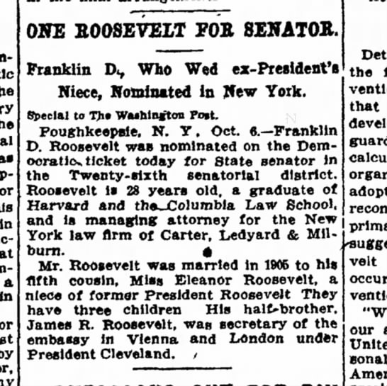1910 10 7 -- One Roosevelt for Senator, Washington Post - under of the to the Representative for Ws in...