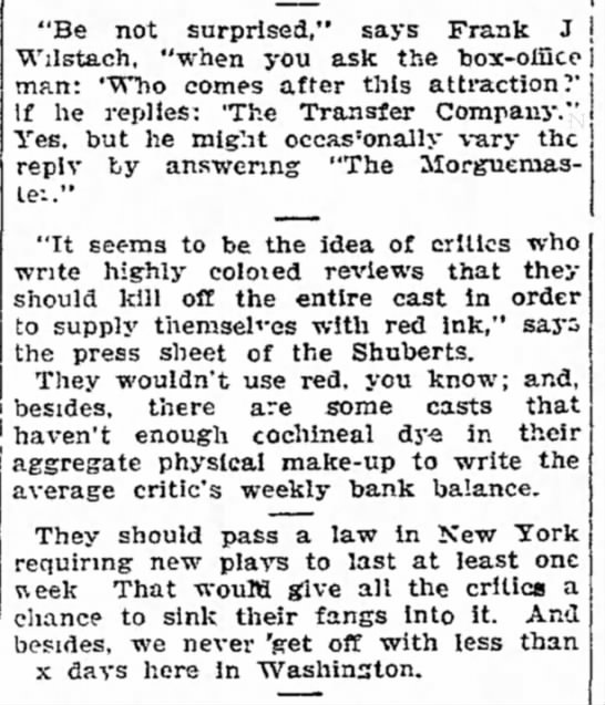 """Be not surprised."" says Frank J. Wilstach...Washington Post 20 Jan 1907 - ""Be not surprised,"" says Frank J Wilstach,..."