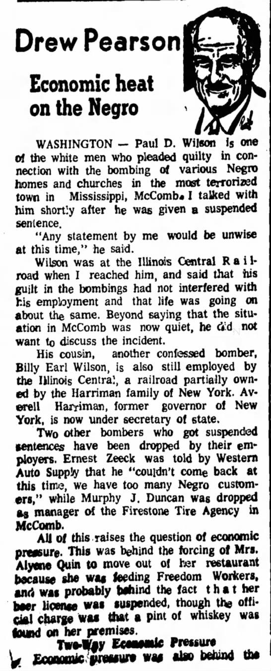 Ernest Zeeck Beatrice Daily Sun 1964 11-10 - Drew Pearson Economic heat on the Negro...
