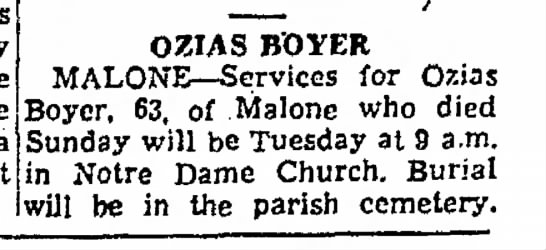 The Post-Standard  Syracuse, New York July 25, 1961 Page 19 Deaths - his by the area west OZIAS B'OYER...
