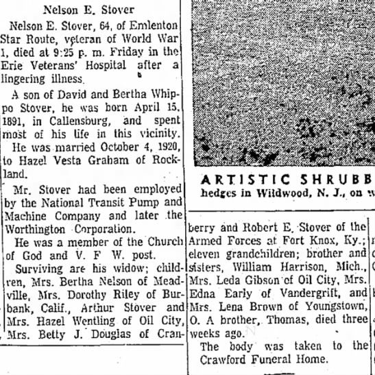 Nelson E Stover obit May 31 1955 - W. been for Nelson E. Stover Nelson E. Stover,...