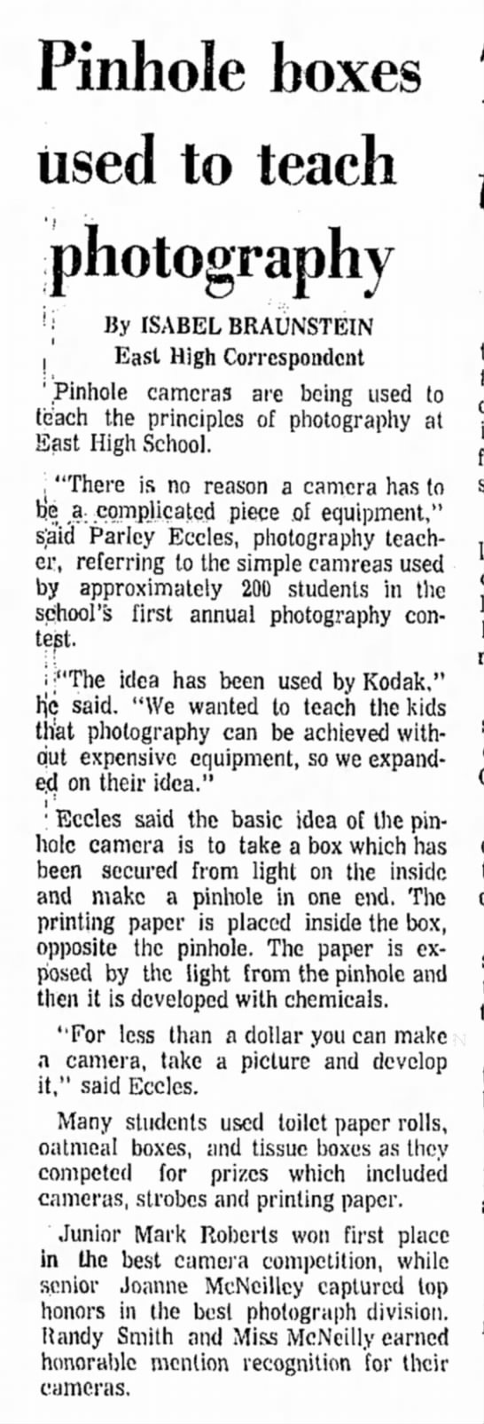 30 December 1972 - Pinhole boxes used to teach photography ! i By...