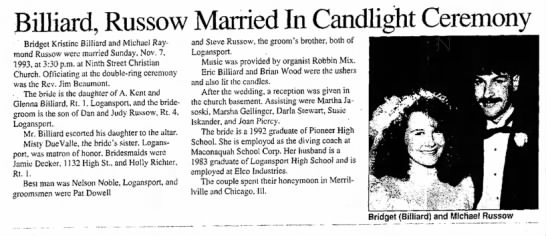 - Billiard, Russow Married In Candlight Ceremony...