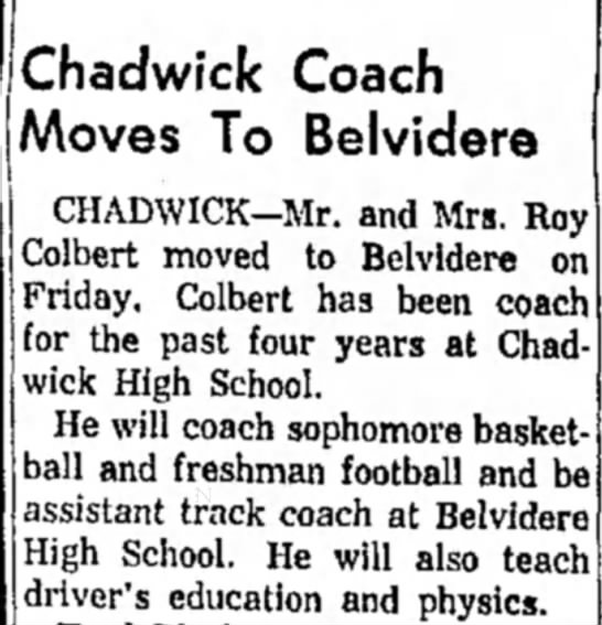 Roy & Judy move to Belvidere - Chadwick Coach Moves To Belvidere CHADWICK—Mr....