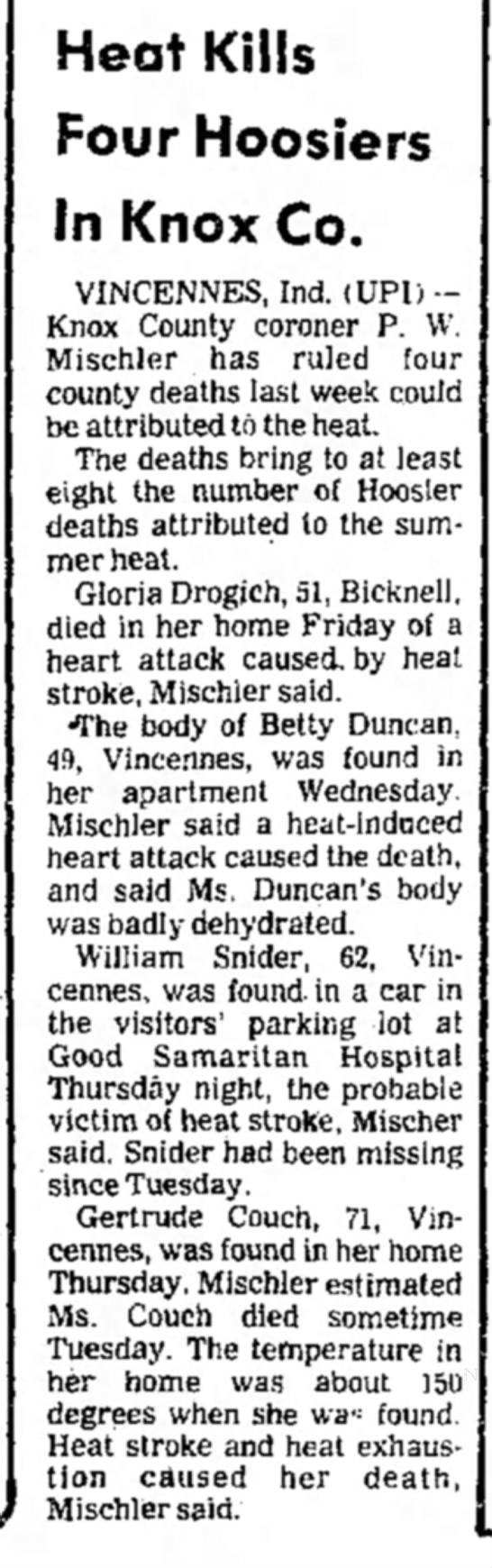 Heat Kills Four In Knox County July 20, 1980 Logansport Pharos-Tribune pg 13 - Heat Kills Four Hoosiers In Knox Co. VINCENNES,...