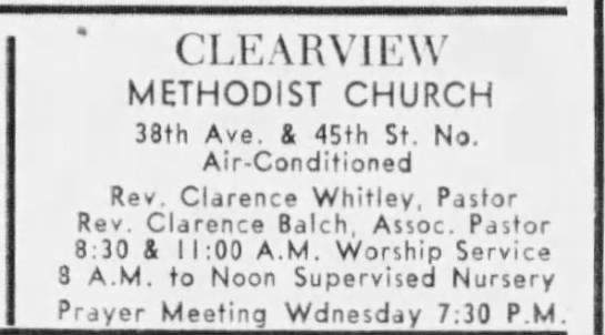 Balch, Clarence - Tampa Bay Times, 22 Jun 1963, Sat, pg 42 - CLEARVIEW METHODIST CHURCH 38th Ave. I 45th St....