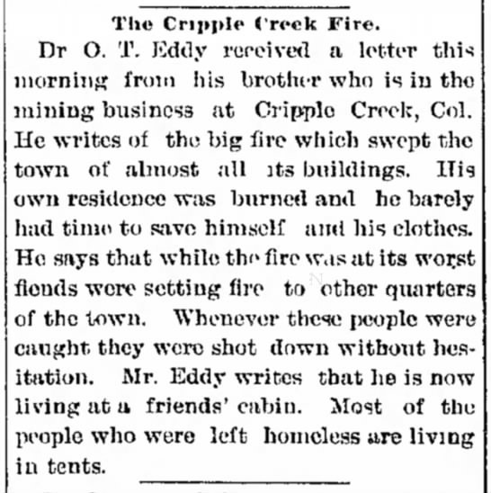 Cripple Creek fire