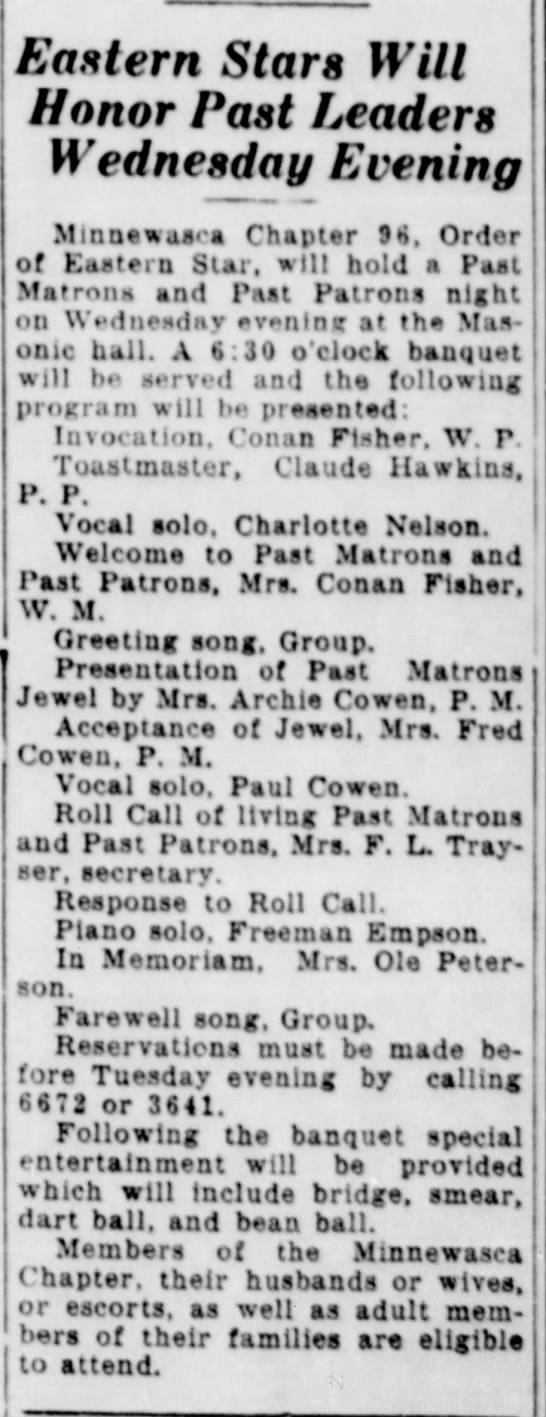 Mrs. Ole Peterson   1/26/1941 - Eastern Stars Will Honor Past Leaders Wednesday...