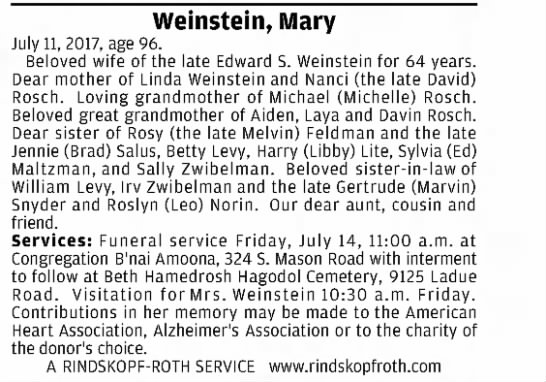 Mary Weinstein obit - Weinstein, Mary July 11, 2017, age 96. Beloved...