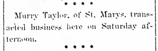 Feb 6, 1905: Lima News. Our Great Grandfather. - 1 » t * * M'urry Taylor, of St. Marys,...
