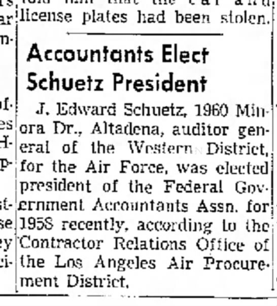 J. Edward Schuetz, pres. of Fed Govt Accountants Assoc. for 1958 - licen se plates had been stolen. involved....