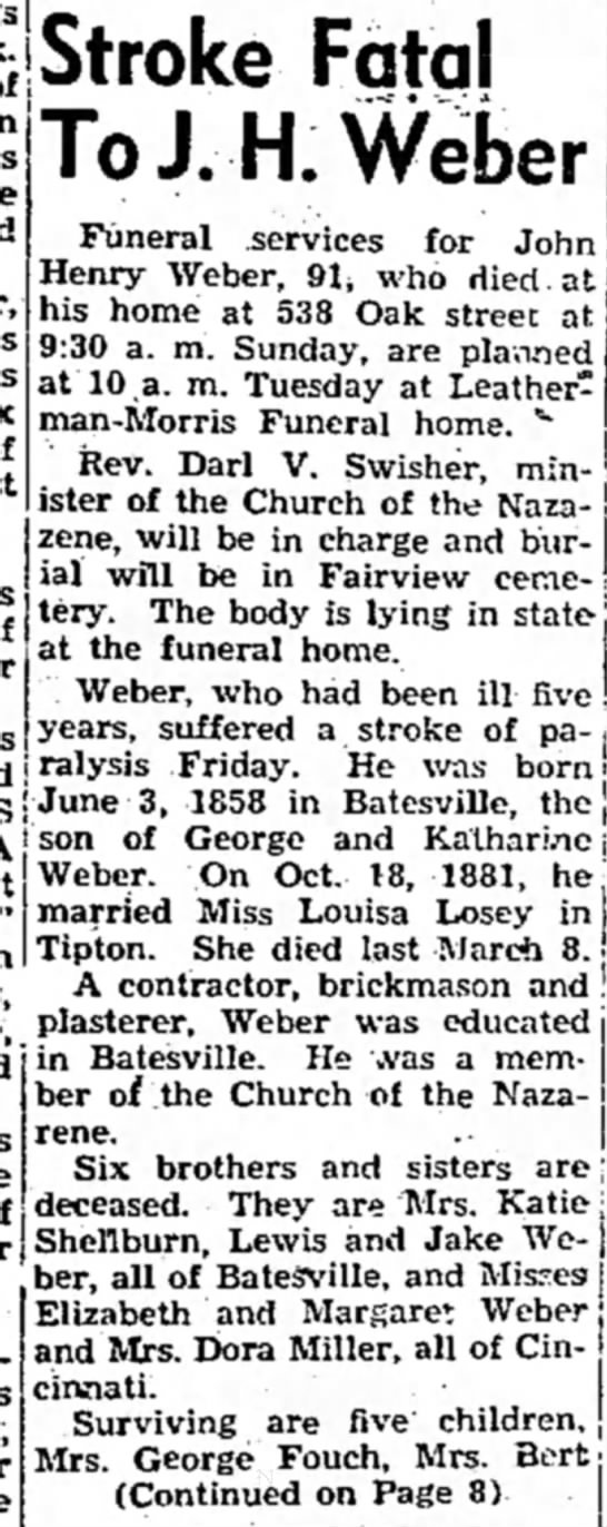 Tipton Tribune (tipton, Indiana) March 27, 1950 pg 1 - for John' Stroke Fatal To J.H.Weber Funeral...