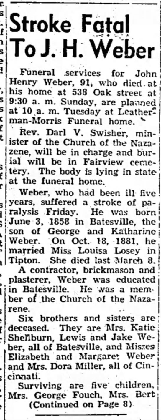Tipton Tribune (Tipton, Indiana) March 27, 1950 pg 1 - for John' Stroke Fatal To J.H.Weber Funeral...