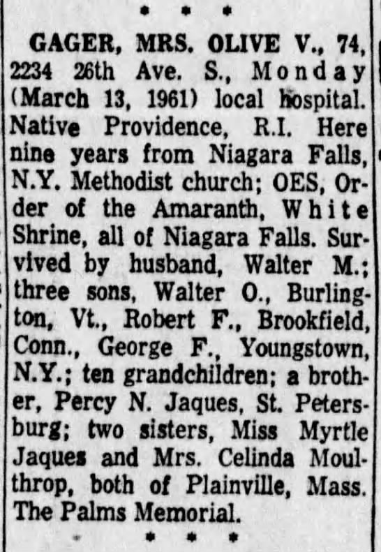 Tampa Bay Times (St Petersburg) 14 Mar 1961 Olive V (Jaques) Gager Obituary - GAGER, MRS. OLIVE V., 74 2234 26th Ave. S.,...