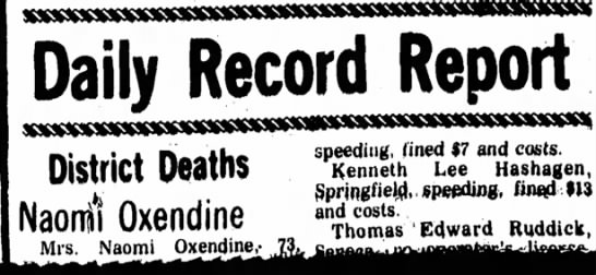 Oma Oxendine death - District Deaths Naonil Oxendine Mrs. Naomi...
