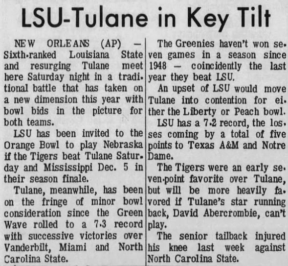 1970.11.27 LSU vs Tulane with bowl implications
