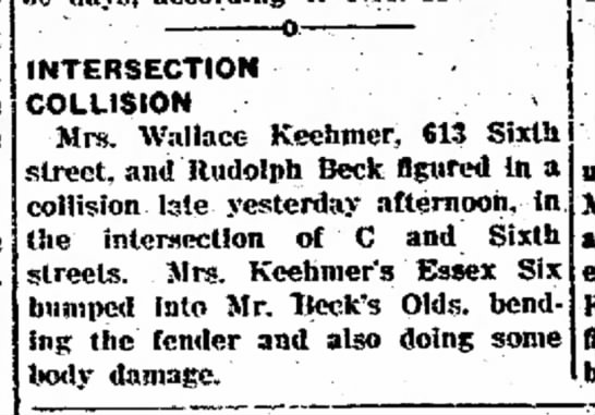 Laura Mae (Woodward) Keehmer - INTERSECTION COLLISION Mrs. Wallace Keehtner,...