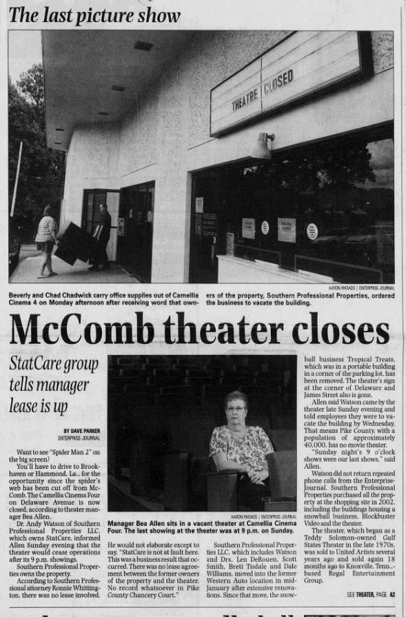 Camellia theatres closing