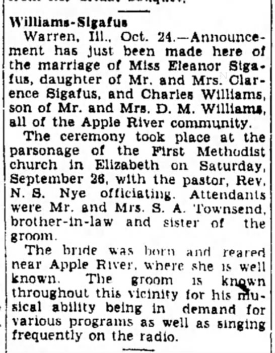 Freeport Journal-Standard, Freeport, Illinois - 24 October 1942, page 2. - Williams-Sigafui Warren, 111., Oct....