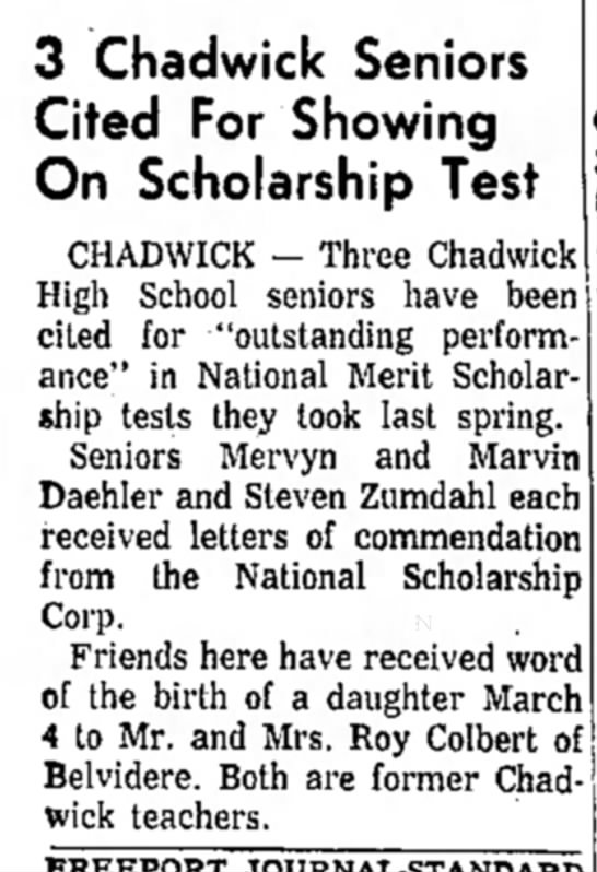 Birth announcement in Freeport paper - 3 Chadwick Seniors Cited For Showing On...