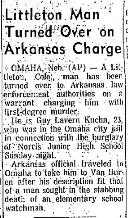 "Guy Lavern Kuehn - fits o n p Littleton Man '"""" 6n Arkansas Charge..."