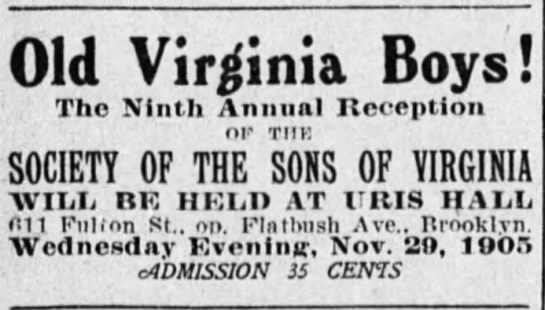 sons of virginia - Old Virginia Boys! The Ninth Annual Reception...